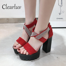 Best selling European and American style fashion banquet sandals high heel suede cross rhinestones open toe word shoes