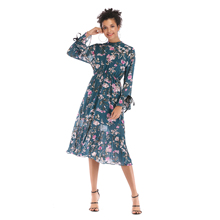 VZFF Multicolor Party Chiffon round neck flare sleeve pleated floral dress floral large swing dress 2019 Autumn women dress недорого