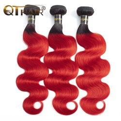 QT волосы предварительно окрашенные красные Омбре малазийские натуральные кудрявые пучки волос T1B/красные темные корни прямые Омбре бразил...
