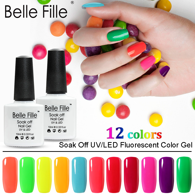 BELLE FILLE 10ml Neon Color Series 6PCS/Lot UV Gel Nail Polish Soak Off Gellak Nails Varnish Vernis Semi Permanent