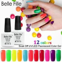 Pinta unñas en Gel Belle fille 10ml Neon Color Series 6 unids/lote esmalte de uñas de Gel uv remojo de Gel polaco Gellak uñas barniz Vernis Semi permanente