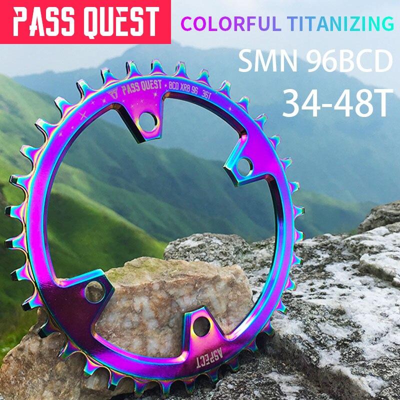 PASS QUEST vélo de montagne plateau rond 96BCD vtt vélo pédalier en aluminium plateau titane placage M7000/M8000/M9000 utilisation