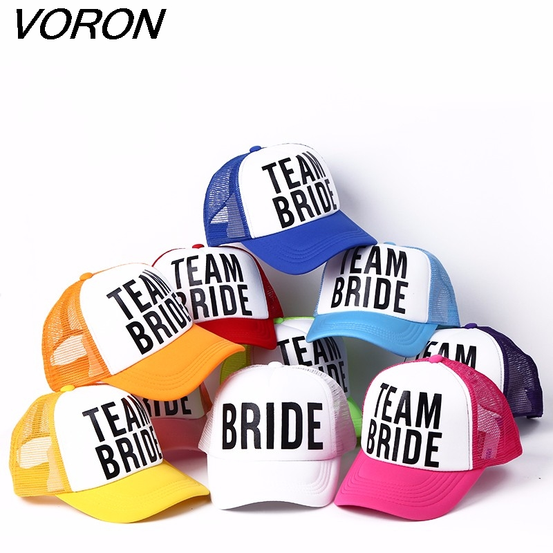 VORON BRIDE TO BE TEAM BRIDE Bachelorette Hats Women Wedding Preparewear Trucker Caps White Neon Summer Mesh Free Shipping заколка to be bride
