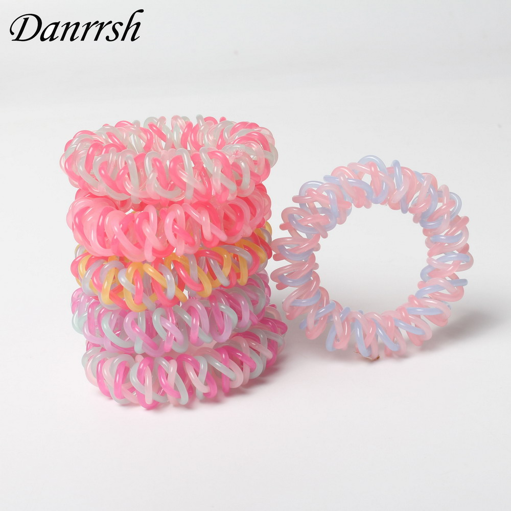 5pcs/lot Fashion Multi-Colored Hair Ponies Headbands Telephone Cord Hair Ties Hair Rope For Women Girl Hair Band
