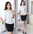 2015 весна лето элегантный белый бизнес рабочих костюмов блузки и юбки женские формы установлен офис дамы одежда комплект Большой размер