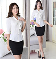 2015 Spring Summer Elegant White Business Work Suits Blouses And Skirt Female Uniforms Set Office Ladies Clothing Set Plus Size