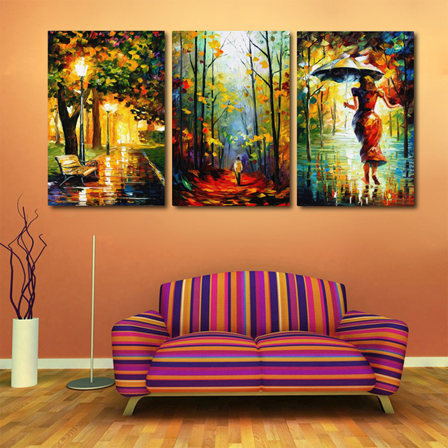 Buy 3 pieces walking in the rain hand painted landscape city bench night modern Canvas prints for living room