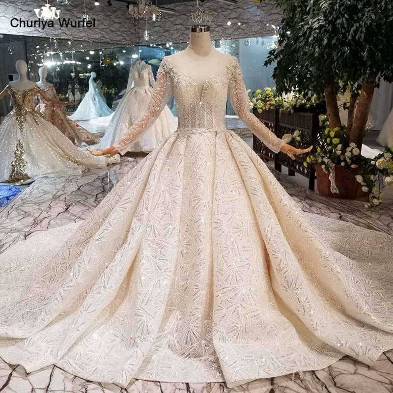 LS11294 2019 new design wedding dresses with royal train o-neck long sleeve shiny bride dress wedding gown fashion robe mariage