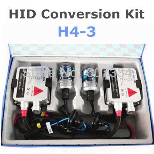 Stock Shipping New 12V/35W CE HID Xenon Conversion Kit (H4-3) Hi/Low by Xenon Lamp Stretch(3000K/4300K/6000K/8000K)For Headlight 35w 12v hi low car hid bi xenon headlight bulb lamp light kit h4 h4 3 8000k wholesale