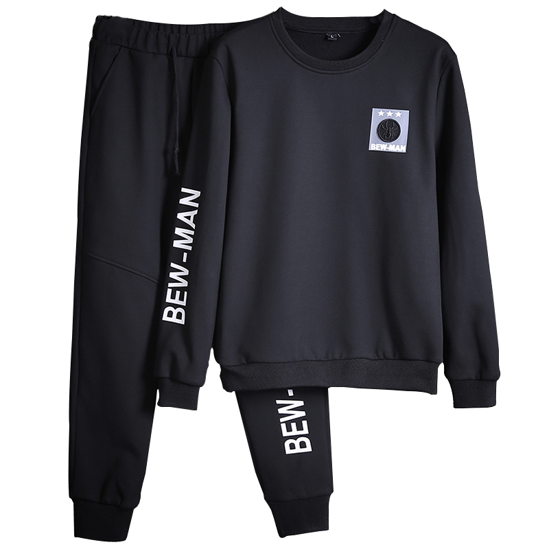 Men Sportswear Sets O-neck Tracksuit Sweatshirt With Joggers Pants Letter Casual 2 Pieces Sets Men Patchwork Spring Hoodie #5