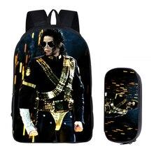 Mochilas para estudiantes mujeres DIY Michael Jackson impresión niños mochilas escolares para niños hombres libro bolsa 2 piezas con lápiz caso