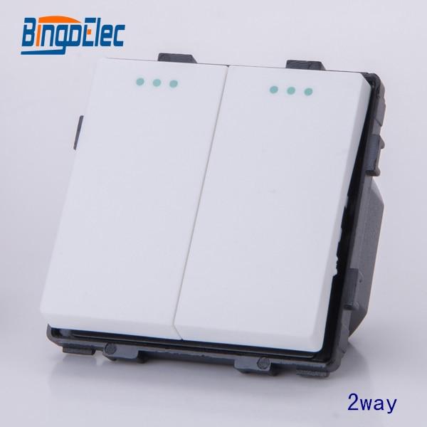 2gang 2way white lighting switch modular function part, no frame ,EU/UK,Hot sale дутики no limits no way