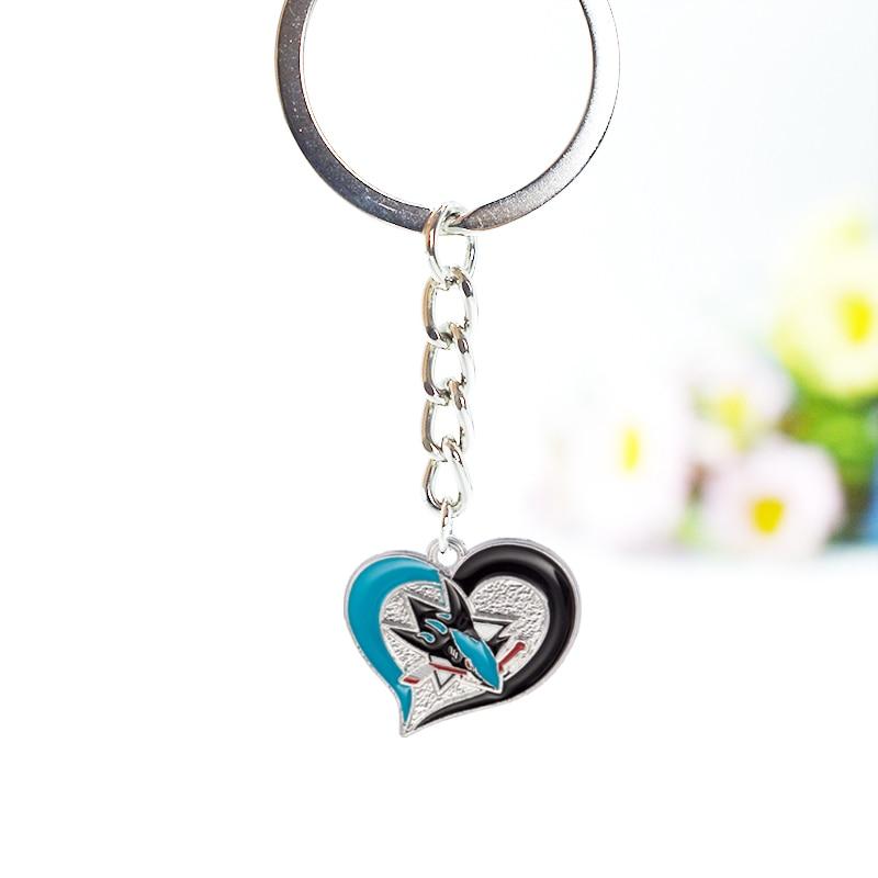 10PCS Hockey Sport Team San Jose Sharks Enamel Alloy Keychain Jewelry For Fans Fashion Jewelry Accessories