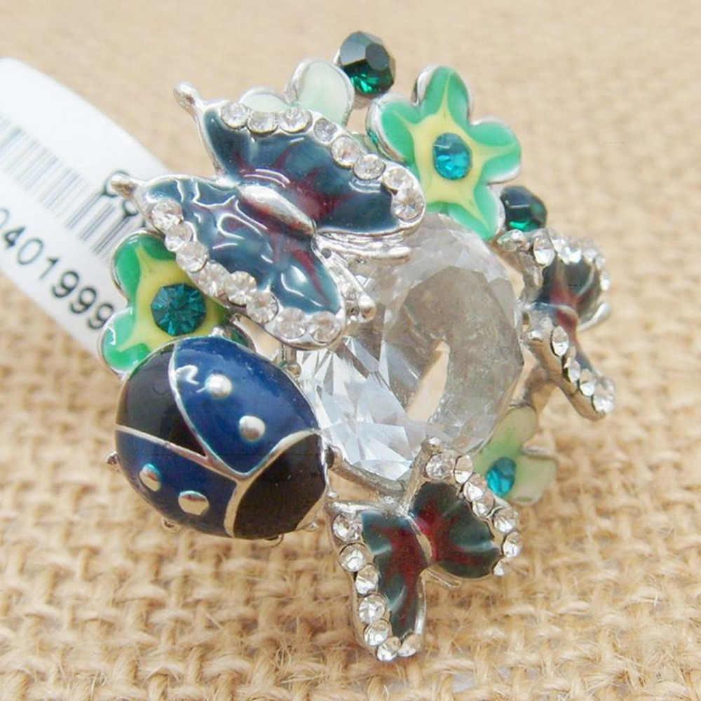 Регулируемый эпоксидный большой камень Блестящая бабочка божья коровка цветок кольцо модные ювелирные изделия массивные кольца для женщин-два цвета вариант