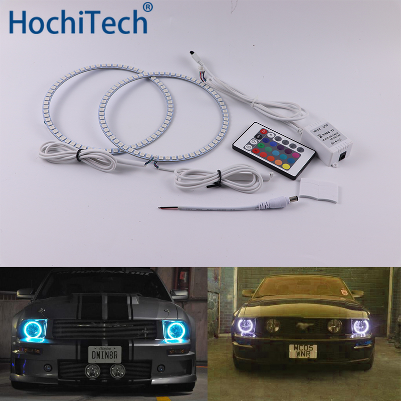 For ford <font><b>Mustang</b></font> 2005 2006 <font><b>2007</b></font> 2008 2009 Multi-color Led Angel Eyes Kit RGB Halo Rings Daytime Light DRL image