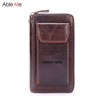 Custom Name Wallet Gifts Business Men Phone Bag Purses Genuine Leather Wallet Zipper Package Oil Leather
