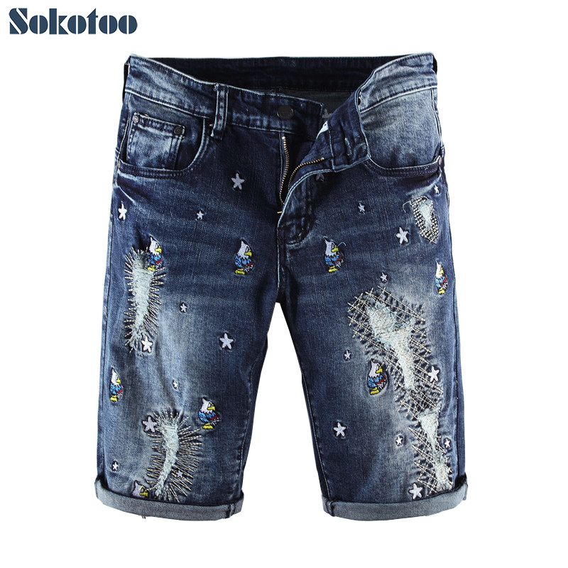 Sokotoo Mens stars birds embroidery patchwork stretch denim shorts Summer knee length slim straight jeans Capri