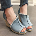 Summer Style Wedge Sandalias Denim Gladiator Sandals Peep Toe Women Platform Pumps Slip On Zapatos Mujer Wedges Shoes Woman