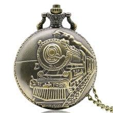 Antique Locomotive Pocket Watch Bronze Steam Train Carving Pendant Neckalace Best Gift Clock for Boys Students Relogio Hour Saat