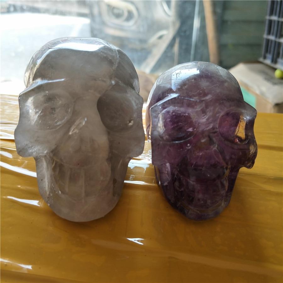 1* quartz crystal skull plus 1* amethyst crystal skull best price for black friday discount