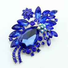 Retro Cute Flower Brooches Pin Crystals Teardrop Rhinestone Brooch For Women Fashion Jewelry 5 Colors Drop