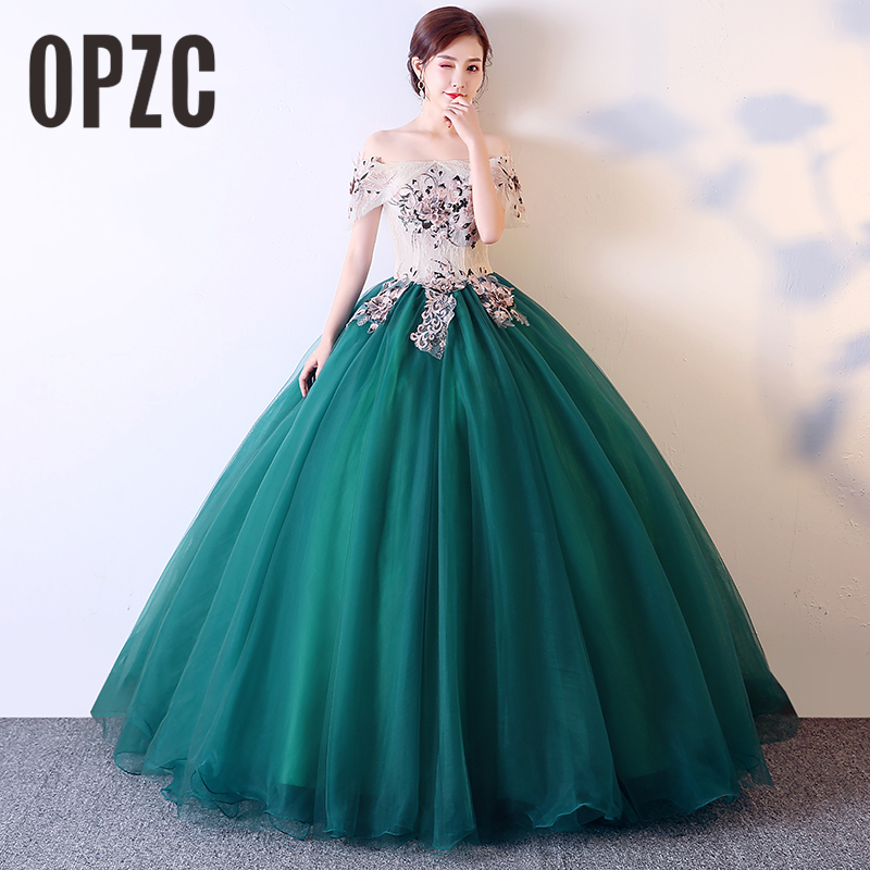 New Arrival Ball Gown Costume Art Photography Dress Wedding Gown Contrast Color Boat Neck Evening Dress Embroidery Party Dress8