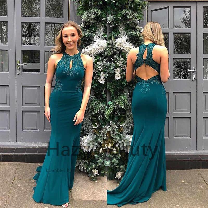 2019 סקסי Robe דה Soiree ארוך בת ים שמלת ערב כהה ירוק אפליקציות ואגלי Vestido דה Festa אירוע מיוחד מסיבת שמלות