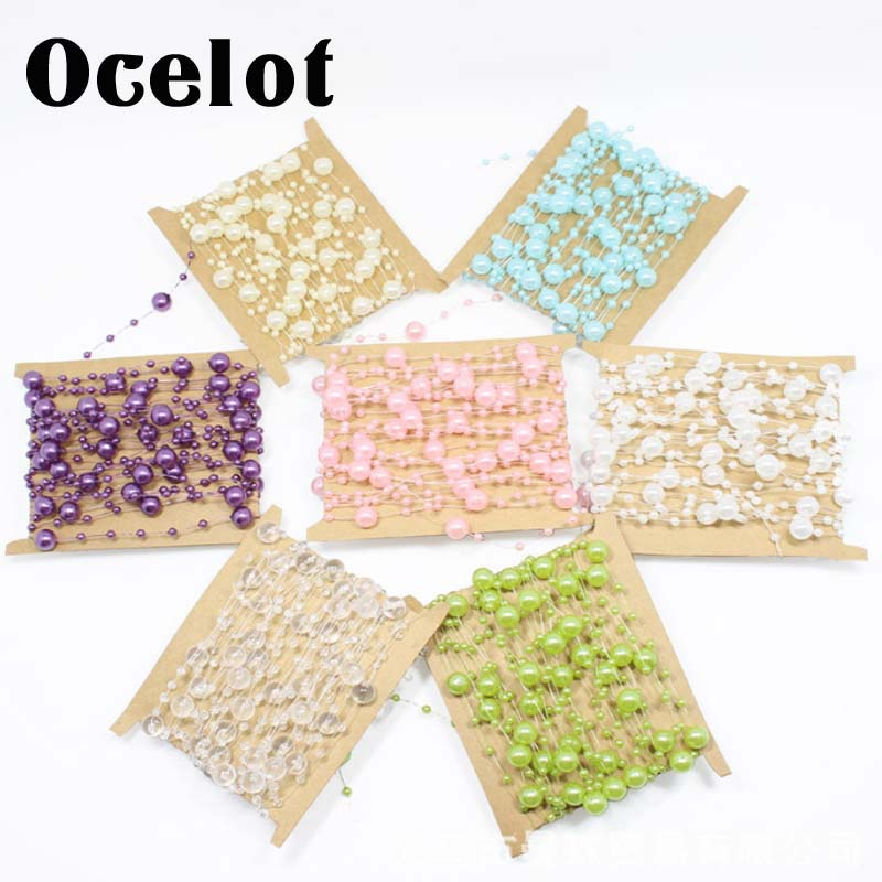 2017 New 5 Yards Fishing Line Artificial ABS Pearl Beads Chain Garland DIY Wedding Party Decor Cloth Hair Accessories