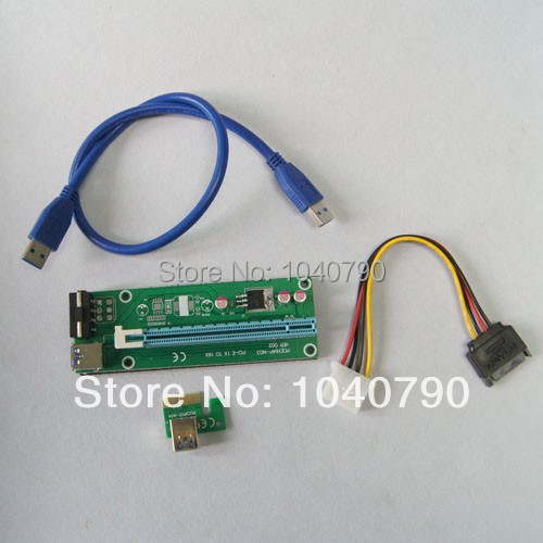 PCI-E PCI E Express 1X to 16X Riser Card +USB 3.0 Extender Cable with power supply for bitcoin litecoin miner 60CM pci e to