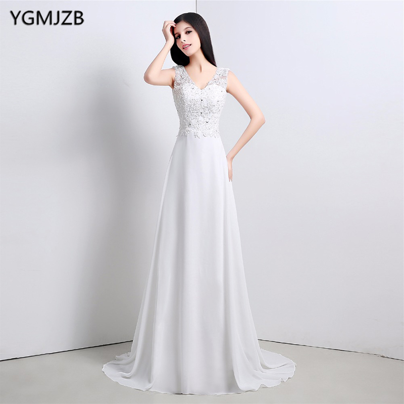 Simple Lace Wedding Dress Cheap Informal Bride Dress Half: Elegant Simple Beach Wedding Dress Casual V Neck Chiffon