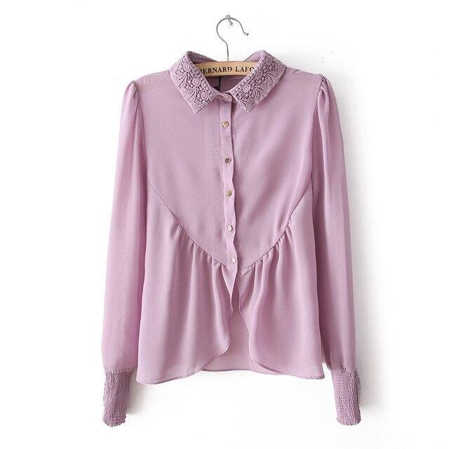 e0cd0b8309aa23 2018 New Ladies Shirt Women Chiffon Blouse Purple Pink Irregular Lace Turn  Down Collar Long Sleeve Tops For Women Drop Shipping