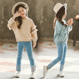 Image 4 - Girl Set Spring Autumn Kids Clothing Set 2019 Solid Sweatshirt + Jeans Pants 2 Pcs Teenage School Girls Lace Sleeves Tracksuit
