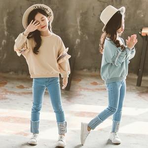 Image 4 - Ragazza Set di Autunno della Molla di Abbigliamento Per Bambini Set 2019 Solido Felpa + Jeans Pantaloni 2 Pcs sacchetto di Scuola Adolescente Ragazze Maniche Lunghe di Pizzo tuta