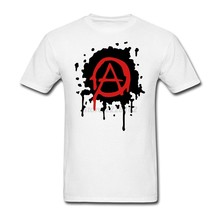 Mens anarchy logo t-shirt luxe lente beste concert tee cool tubthumping tee shirt maken katoen gentleman familie clothing(China)