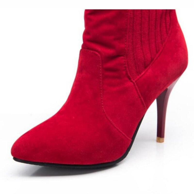 Femmes Taille Cheville red Style 2018 Pointu Mince 43 Casual Partie Concise 34 Fil Talons Tricoter À Haute Black Bout Bottes Chaussures qSBntcpB4a