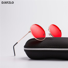 DJXFZLO 2018 explosion models metal round fashion marine lenses red sunglasses unisex Prince mirror UV400