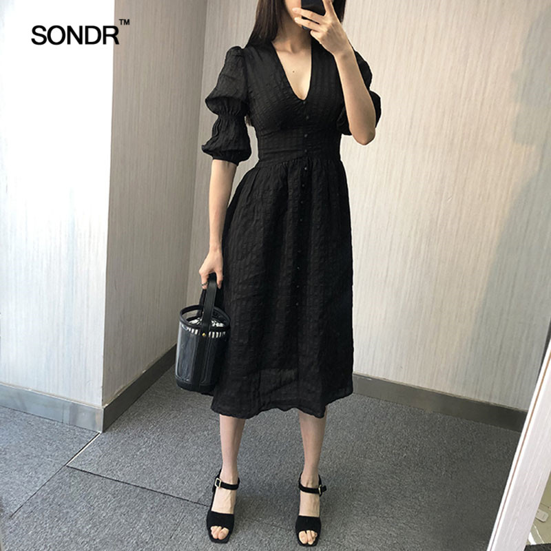 SONDR Vintage design French elegance v neck reveals a slim high waisted bubble sleeve dress for women 2019 summer fairy dress in Dresses from Women 39 s Clothing