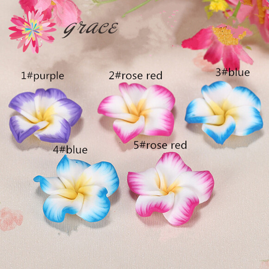 Compare prices on hawaii flower clay online shoppingbuy low 10pclot 30mm polymerclay lotus plumeria fimo flower beads oblate foma hawaii hair jewelry pendant dhlflorist Gallery