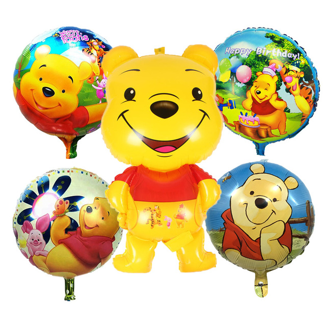 5 Pcs Cartoon Winnie Bear Foil Balloons Happy birthday decorations