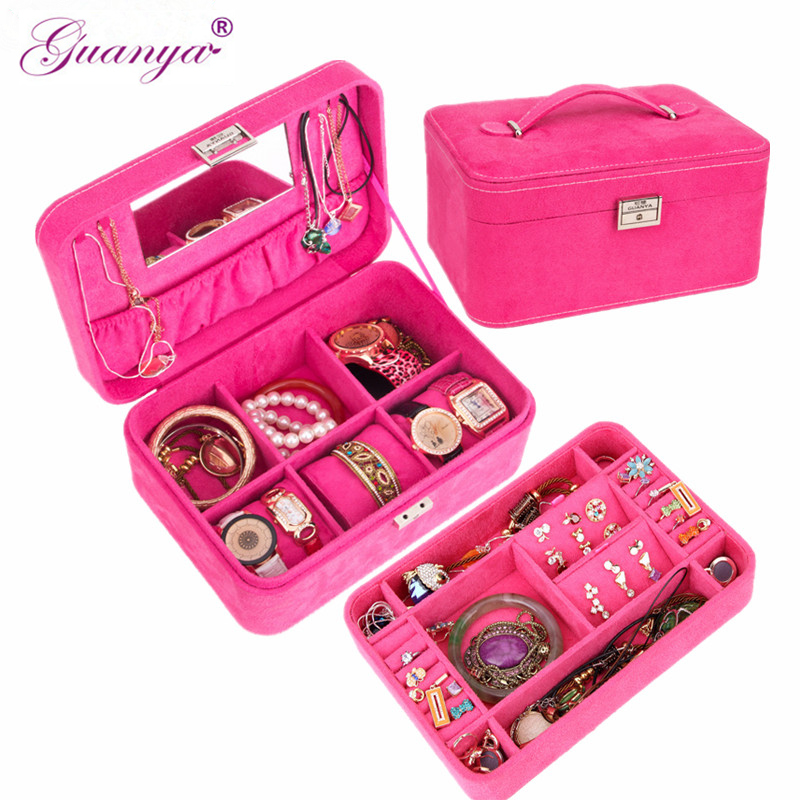 Princess double layer wooden flannelet jewelry box with lock mirror jewelry display storage case big size