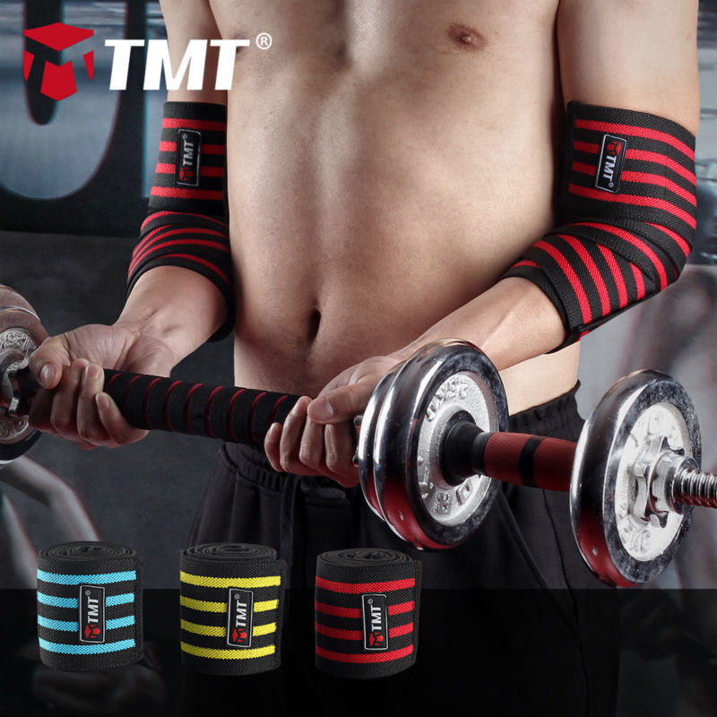 TMT 101.5x8.2cm Elastisk innpakket bandasje Breathable Absorb Sweat basketball Elbow Guard Support Brace Protection Ermebeskytter