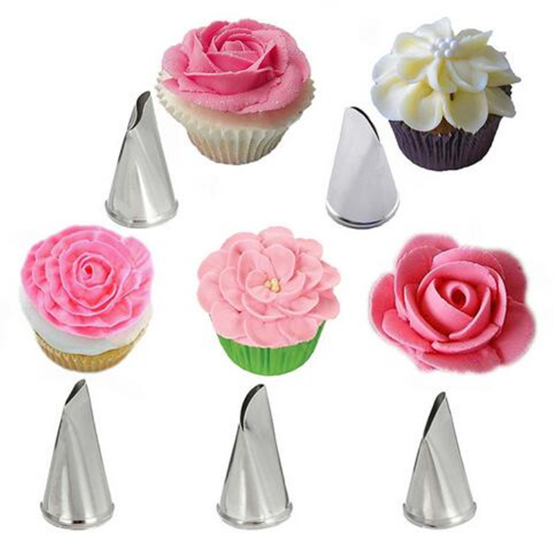 Decorator Tips: 5Pcs/Set Stainless Steel Rose Petal Icing Piping Nozzles