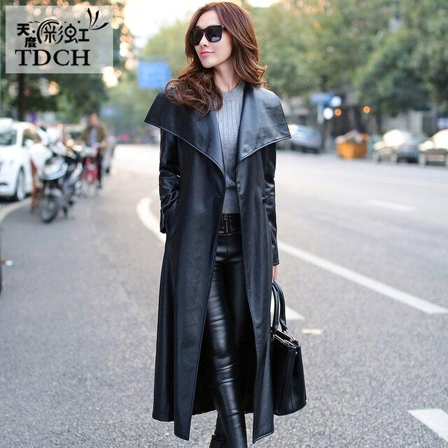 af79bce3c5de7 Women Black Leather Long Trench Coat 2018 Fall Fashion New Plus Size