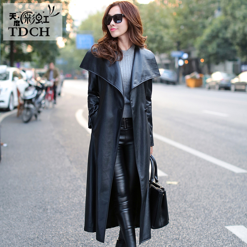 Women Black Leather Long   Trench   Coat 2019 Fall Fashion New Plus Size Single Breasted Long PU Leather   Trench   Coats A1460