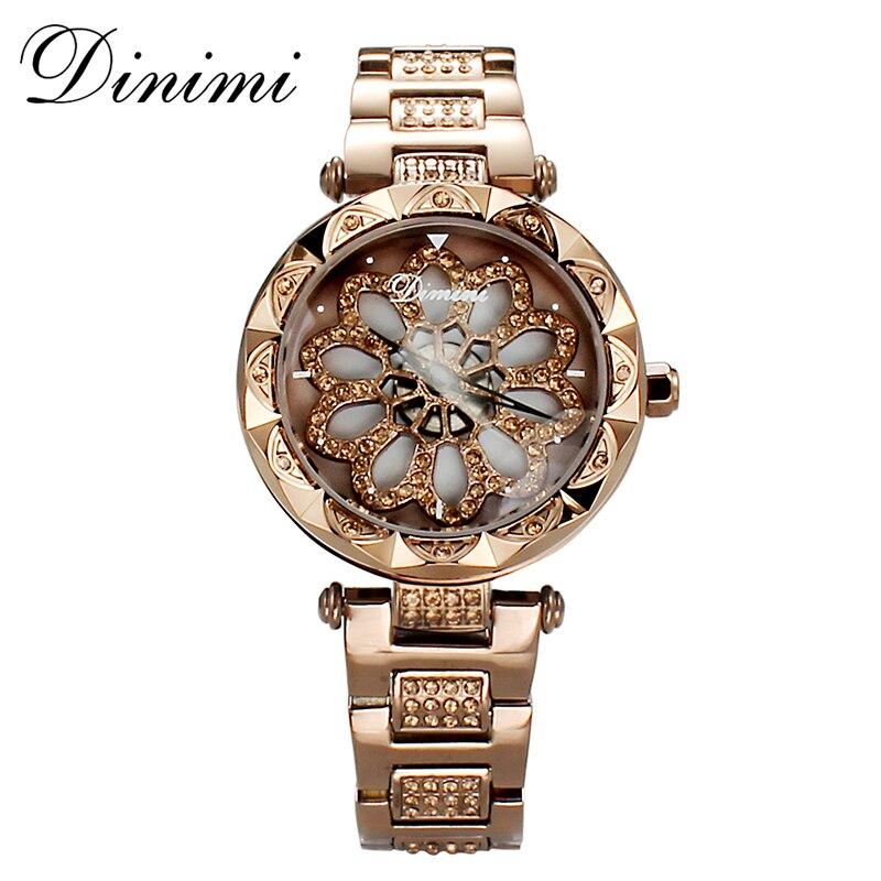 Dimini mode femmes montres diamant de luxe dame montre Quartz montre bracelet en acier inoxydable or dames montres cadeaux livraison directe-in Montres femme from Montres    2