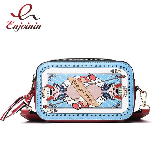 031325ee3c Cute Cartoon Geometric Pattern Colorful Strap Pu Women s Shoulder Bag Tote  Crossbody Mini Messenger Bag Female