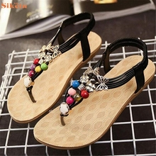 Hot Sale Summer Bohemia Sweet Beaded Sandals Clip Toe Sandals Beach Shoes wholesale