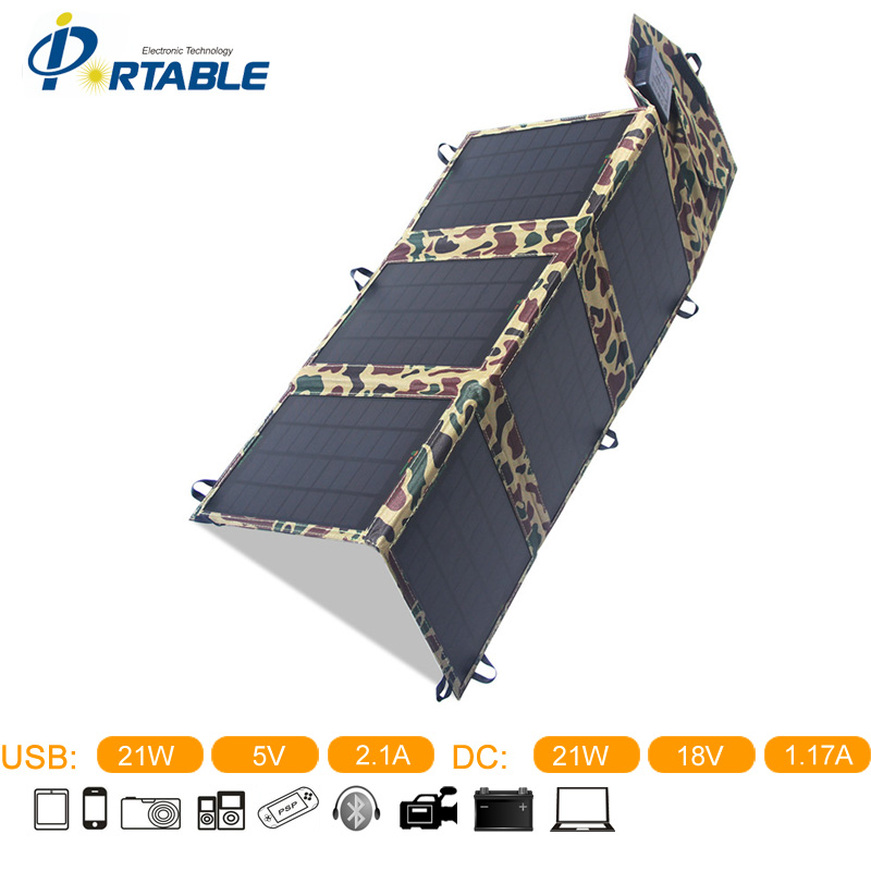 New Arrival 21W Folding Solar Panel With 6 Folds  In  Camouflage Green Color Portable Charger PETCS21TA
