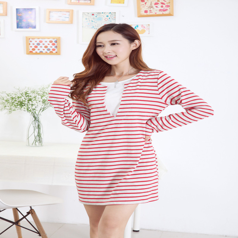 New False Two Pieces Cotton Stripe Maternity Dresses Nursing Clothes for Pregnant Women Breastfeeding Dress for Feeding Clothing