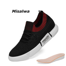 Misalwa Black Sneakers Men Comfortable Lace-up Elevator Shoes For Mesh Lightweight Height Inrease Leisure Casual 36-44